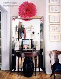 great idea! use a floor mirror as the back to a desk - makes the room look bigger and can be a makeshift vanity