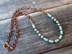 Turquoise Necklace - Beaded Necklace - Chain Necklace - Copper Necklace - Southwest Necklace - Choker Necklace. $48.00, via Etsy.