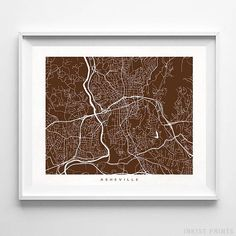 Asheville, North Carolina Street Map Wall Art Poster - 70 Color Options - Prices from $9.95 - Click Photo for Details - #streetmap #map #homedecor #wallart #Asheville #NorthCarolina