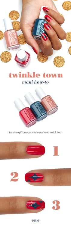 for a fun holiday mani, try our twinkle town nail art! inspired by holiday lights, the bold red color base in 'be cherry!' makes sure the twinkles in deep teal 'on your mistletoes' & sandy beige 'suit & tied' really pop! you're bound to end up under the mistletoe before midnight wearing this nail art! top it off with 'gel-setter' for a gel-like mani finish. we've got you covered for every holiday soirée this season with essie winter 2017.  Shop now on essie.com