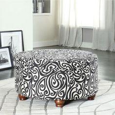 Textured Black Luxurious Round Ottoman  overstock