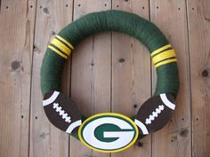 Fall NFL Football Yarn Wreath Green Bay Packers Yarn Wreath