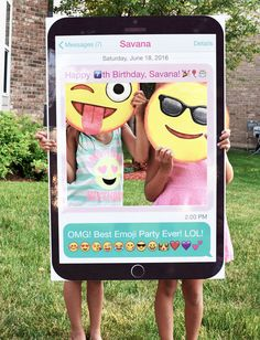 Great for Emoji Themed Birthday Parties! Emoji Photo Booth, Mobile Phone Photo Booth. Party Prop Frame created by Imajenit