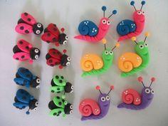 Apliques en masa flexible para lazos, cintillos u otros accesorios de niñas. Snail - ladybird Caracoles y mariquitas