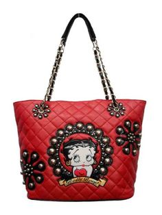 Betty Boop Purses,red Handbag with Nice Betty Boop Face Between,gold-tone Hardware,nice Chain Strap and Zipper Closed.