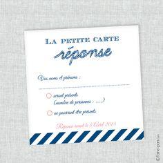 "Carte Réponse Mariage ""Navy Corail"" thème marin"
