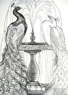 Blue and White Peacocks by HouseofChabrier.deviantart.com on @deviantART