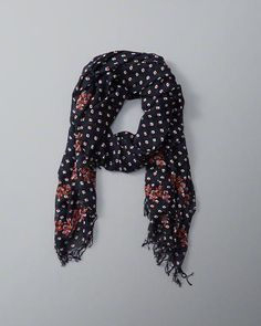 ANF Printed Embroidered-Edge Scarf
