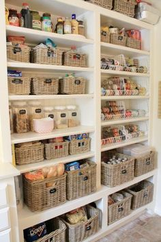We're going wild for this super organized butler's pantry by Emily Dinwiddie of Eleven Gables. Wicker baskets in various shapes and sizes conceal everything from boxes to bags to beverages. The rest of this room functions as a laundry room, craft center and wrapping station, so functional and pretty storage is paramount for Emily's large family.