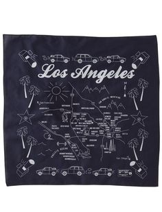 Cool and unique bandana design with city of Los Angeles, custom promotional bandana, custom printed branded bandana with company logo California Dreamin', California English, Bandana Design, Custom Design, Logo Design, Bandana Styles, Travel Maps, Travel Destinations, My Scrapbook