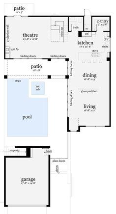 - House Plans, Home Plan Designs, Floor Plans and Blueprints Floor Plans 2 Story, House Plans 2 Story, Modern House Floor Plans, Pool House Plans, Patio Plans, L Shaped House Plans, Living Pool, Villa Plan, Home Design Plans