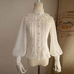 Victorian Gothic lolita Women bow Long Sleeve T-Shirt Tops High Neck Blouse new