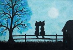 Cats Picture in Frame: Romantic Cats Art Drawing  by ClaudinesArt