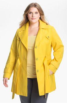I love this bright yellow Via Spiga Pleated Trench Coat (Plus Size)