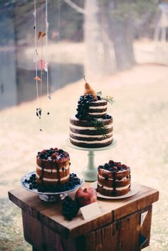Darker cakes and fruits would fit right in at a barn wedding. Photo Source:  ruffled  #barnwedding #nakedcakes #berries