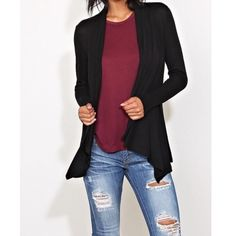 Chic draped cardigan ONE DAY SALE LOWEST PRICE Open draped cardigan great over any outfit! PLEASE USE Poshmark new option you can purchase and it will give you the option to pick the size you want ( all sizes are available) BUNDLE And SAVE 10% ( sizes updated daily ) Jackets & Coats