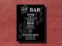 Wedding Reception Bar Menu Sign.