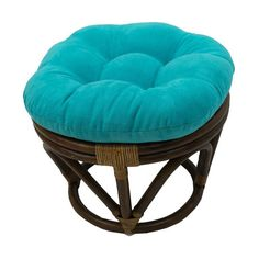 Round Ottoman Furniture Footrest Living Room Tufted Microsuede Aqua Blue Cushion #RoundRattanFootrest #Traditional