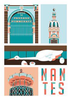 Nantes by Lea Lafleur Art Deco Posters, Cool Posters, Vintage Posters, Travel Illustration, Illustration Girl, Tourism Poster, Travel Posters, Corporate Design, Minimalist Graphic Design
