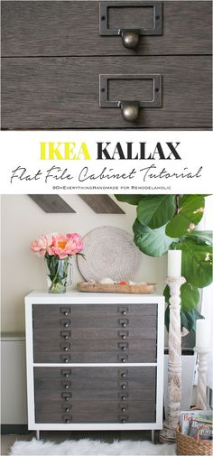 IKEA Hack: Kallax into Flat File Cabinet Drawers Crazy cool IKEA Hack! Come learn how to make a flat file cabinet from a Kallax Cube unit. Isn't it beautiful andperfect for storing art and craft supplies? From On Everything Handmade and Remodelaholic. Ikea Kallax Shelf, Ikea Kallax Hack, Ikea Kallax Regal, Diy Drawers, Cabinet Drawers, Storage Drawers, Cabinet Storage, Storage Hacks, Architecture