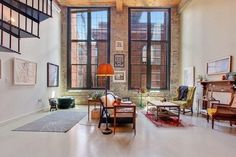 This loft space is a great example of how to keep a room simple and uncluttered. The Fulton Cotton Mill Lofts in Georga have a great sense of style building rooms with high ceilings and some exposed brick on the walls. This is great architecture and design work.  #beckenstein #beckensteinfabrics #beckfab #interiordesign #designtips #homedesign #decoration #interiordecor #inspire #creative #fashion #sophistication #dreamhome #eleganceroom #interiordetails #nyc #newyork #nycdeisgner…