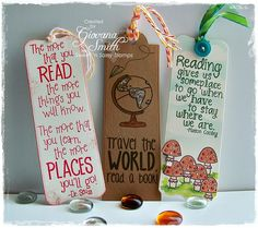 Sweet 'n Sassy Stamps: Bookmark Bits and Pieces Set and Bookmarks and More dies.