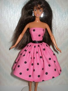 Handmade Barbie doll clothes  Pink and black by TheDesigningRose, $6.00