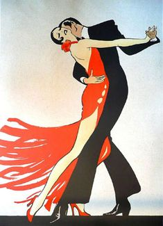Tango-inspired illustration by René Gruau, Dior artist extraordinaire. Art And Illustration, Art Deco Posters, Vintage Posters, Art Deco Artwork, Art Deco Paintings, Painting Art, Rene Gruau, Kunst Poster, Art Design