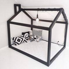 black frame house bed for kids