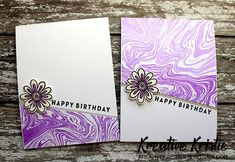 I have two cards to share with you today using the awesome and so creative Marble Swirl stamp by Catherine Pooler. Birthday Party Tables, Birthday Diy, Birthday Cards, Happy Birthday, Birthday Cake Illustration, Birthday Surprises For Him, Birthday Quotes For Daughter, Diy Birthday Decorations, Scrapbooking