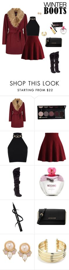 """Black boots winter"" by clauxsanchex on Polyvore featuring moda, New Look, Miss Selfridge, Chicwish, Michael Antonio, Moschino, Michael Kors, Carolee, Belk Silverworks y Isaac Mizrahi"