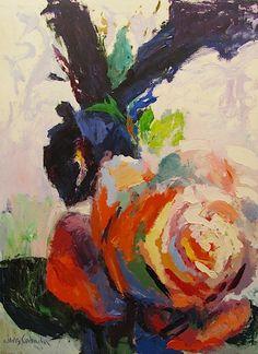 """Iris & Rose,"" Acrylic on Canvas, 60 x 48 in."