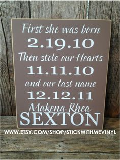 perfect ADOPTION sign first she was born then by stickwithmevinyl