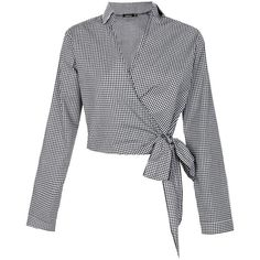 Boohoo Roxy Gingham Wrap Front Blouse ($26) ❤ liked on Polyvore featuring tops, blouses, crop top, gingham blouse, cropped camisoles, off shoulder crop top and bralette tops