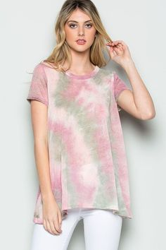 47e990147b3f5a Tie Dye Print Round Neck Top with Button Down and Round Hemline Ottawa