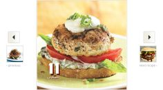 Open-Face Chicken Burgers with Basil Mayonnaise Use a combination of light and dark ground chicken for the best flavor without adding extra fat and calories.