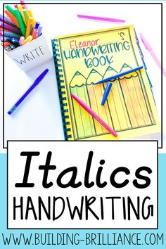 This unit is designed to help students practice and master their italics handwriting (comparable to D'Nealian™). There are over 120 pages of activities to help sharpen handwriting, including uppercase & lowercase practice, word writing, paragraph writing, and search and graph. Use the pages as stand alone worksheets, or turn them into a handwriting book!  #Handwriting #TeachersPayTeachers #BuildingBrilliance