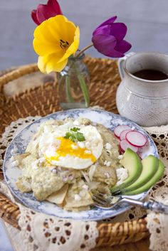 Roasted Green Chile Chilaquiles with Cacique Crema Mexicana, Oaxaca Cheese, and Ranchero Queso Fresco