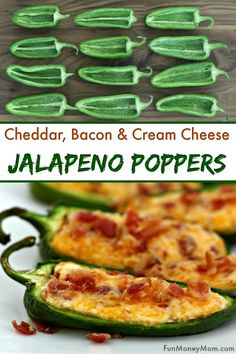 Baked Jalapeno Poppers With Cream Cheese Cheddar 038 Bacon Jalapeno Poppers These easy appetizers are perfect for tailgating parties cookouts or any other occasion where you need party food poppers jalapenopoppers japapenos partyfood Yummy Appetizers, Appetizers For Party, Appetizer Recipes, Easiest Appetizers, Mexican Appetizers Easy, Bite Size Appetizers, Party Food Entrees, Girls Night Appetizers, Birthday Appetizers