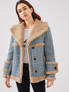 1a14af6481f Waterfall Collar Contrast Faux Fur Plaid Coat -SheIn(Sheinside) Coats 2018
