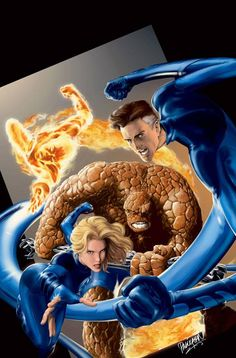 """The Fantastic Four - Mister Fantastic (Reed Richards), Invisible Woman (Susan """"Sue"""" Storm Richards), Human Torch (Jonathan """"Johnny"""" Storm), and The Thing (Benjamin Jacob """"Ben"""" Grimm). Comic Book Characters, Marvel Characters, Comic Character, Comic Books Art, Comic Art, Book Art, Comic Villains, Marvel Movies, Stan Lee"""