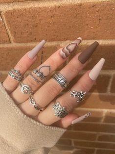 Boho Silver Ring Set Silver Ring Ring Set Elephant Ring | Etsy Tan Nails, Edgy Nails, Grunge Nails, Dope Nails, Stylish Nails, Edgy Nail Art, Brown Nails, Grey Matte Nails, Bling Acrylic Nails