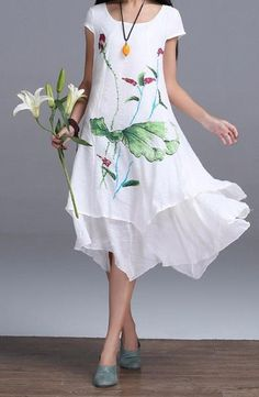 Hand painted Linen Asymetrical Dress