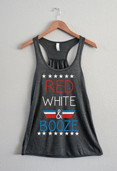 Red White and Booze. Top Gun. America, 4th of July, Murica, Funny, Tank, Alcohol, College, woman's clothing, Mimosas, Alcohol