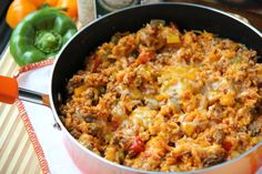One Pot Stuffed Pepper Casserole - FamilyFreshMeals.com -use veggie crumble and vegetable broth to make it vegetarian