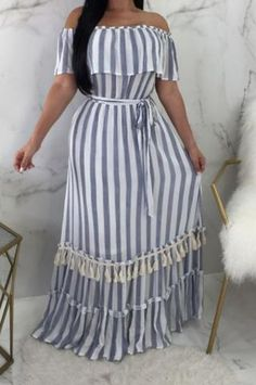 Off shoulder blue and white maxi dress with white tassles. Fashion Sewing, Curvy Fashion, Plus Size Fashion, White Maxi Dresses, Casual Dresses, Summer Dresses, Tassle Dress, Modest Wear, Blue And White Dress