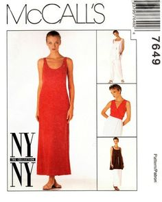 McCall's 7649 Wow Dress, Tunic, Wrap Vest & Pants 1995 2000s, Sewing Patterns, Vest, Tunic, Pants, Collection, Dresses, Fashion, Stitching Patterns