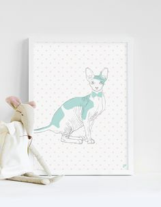 Plakat 30x40cm - kot Sfinks - Follygraph - Obrazki dla dzieci