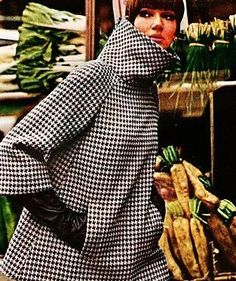 "fashion-of-the-60s: ""Houndstooth coat designed by Geoffrey Beene, 1960s. (x) """