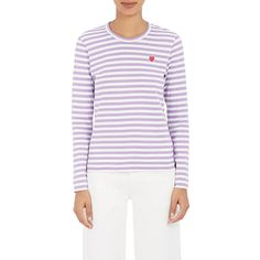 Comme des Garçons PLAY Women's Striped T-Shirt (€115) ❤ liked on Polyvore featuring tops, t-shirts, multi, long sleeve cotton t shirts, striped tee, long sleeve crew neck tee, striped t shirt and striped long sleeve t shirt